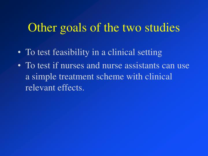 Other goals of the two studies