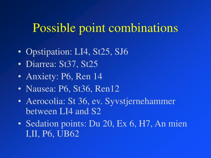 Possible point combinations