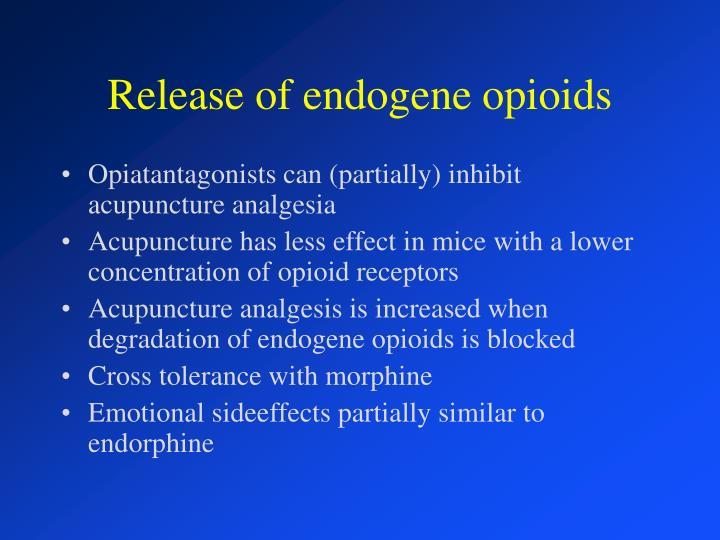 Release of endogene opioids