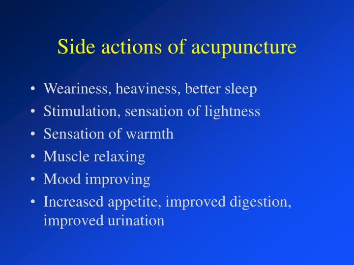 Side actions of acupuncture