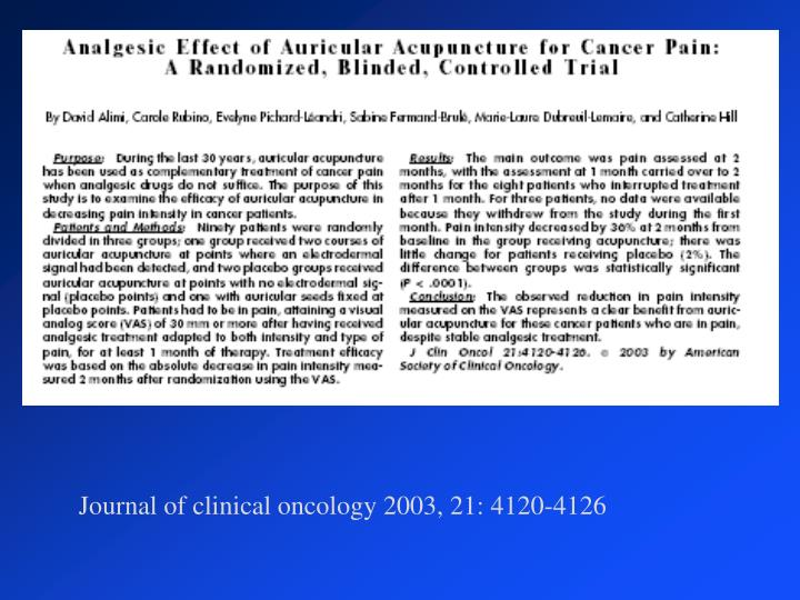 Journal of clinical oncology 2003, 21: 4120-4126