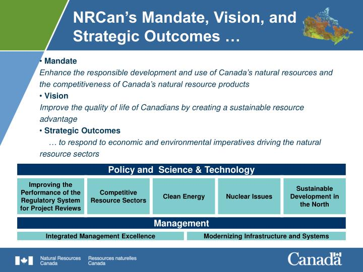 NRCan's Mandate, Vision, and Strategic Outcomes …