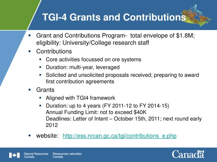 TGI-4 Grants and Contributions