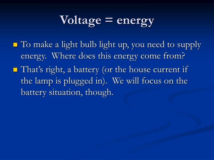 Voltage = energy