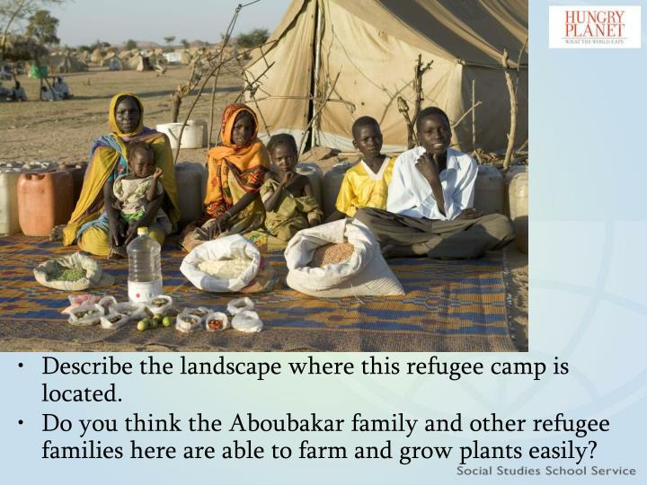 Describe the landscape where this refugee camp is located.