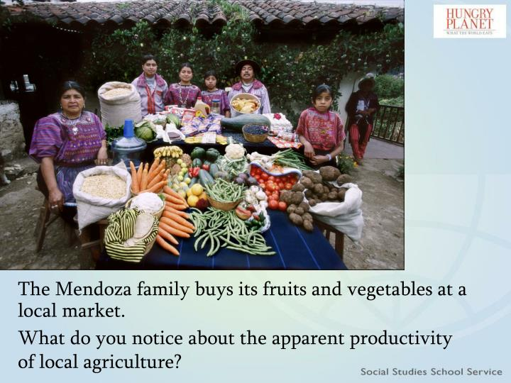 The Mendoza family buys its fruits and vegetables at a local market.