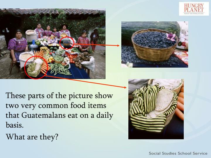 These parts of the picture show two very common food items that Guatemalans eat on a daily basis.