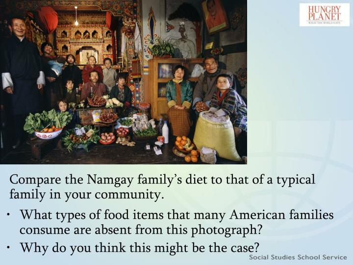 Compare the Namgay family's diet to that of a typical family in your community.