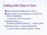 putting dao data in form