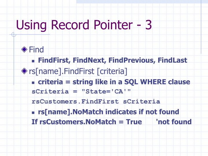 Using Record Pointer - 3