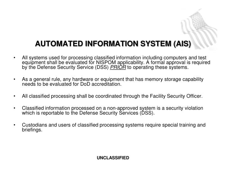 AUTOMATED INFORMATION SYSTEM (AIS)