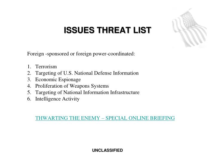 ISSUES THREAT LIST