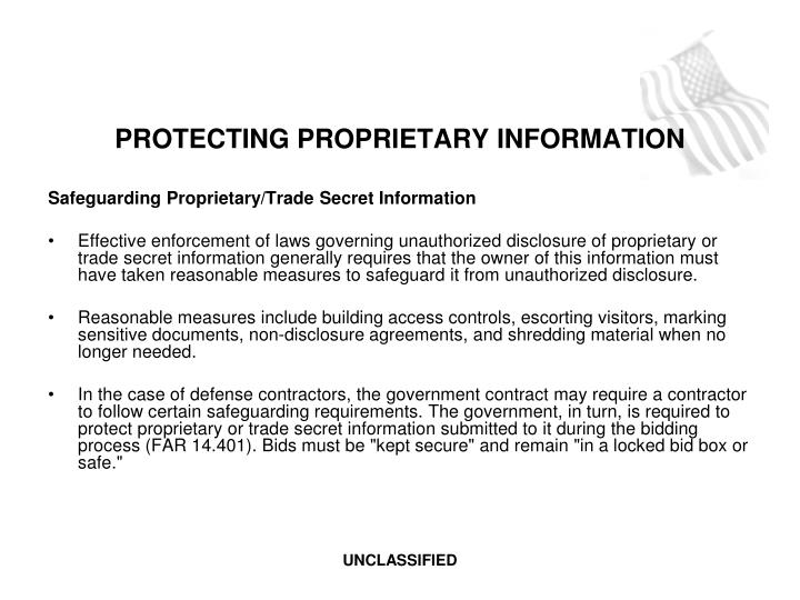 PROTECTING PROPRIETARY INFORMATION