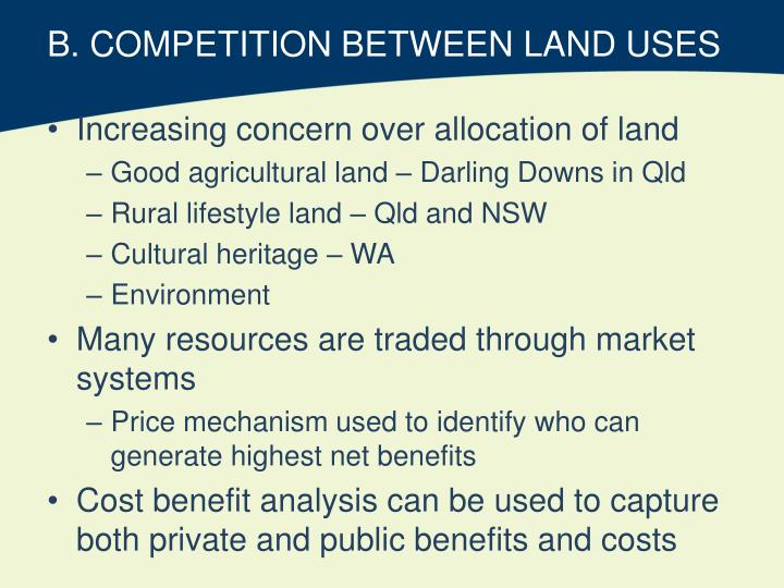 B. COMPETITION BETWEEN LAND USES