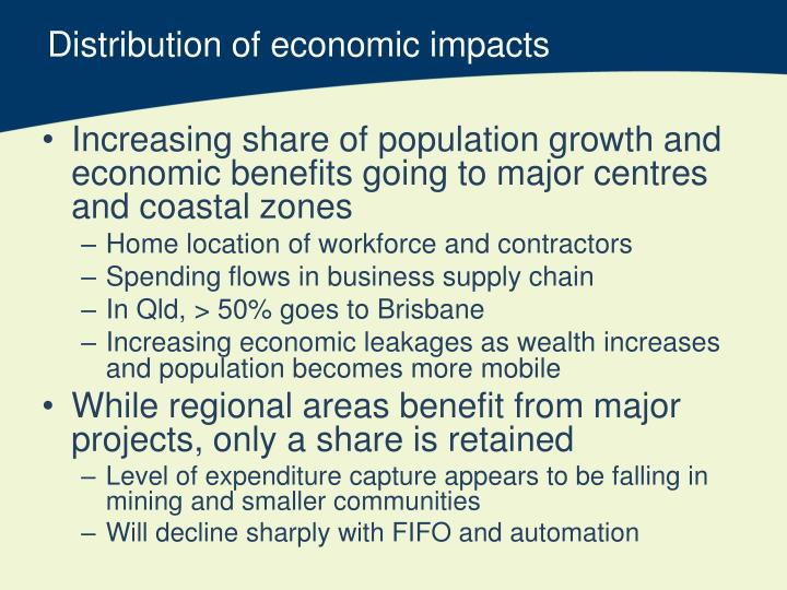 Distribution of economic impacts