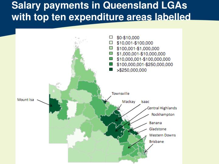 Salary payments in Queensland LGAs with top ten expenditure areas labelled