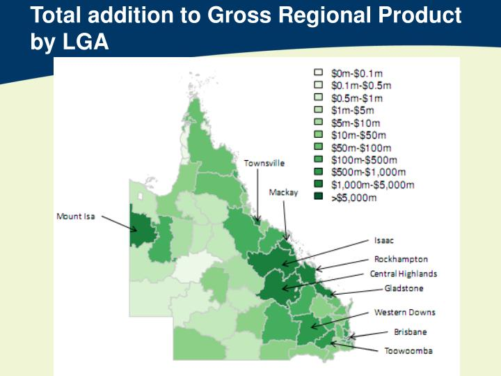 Total addition to Gross Regional Product by LGA