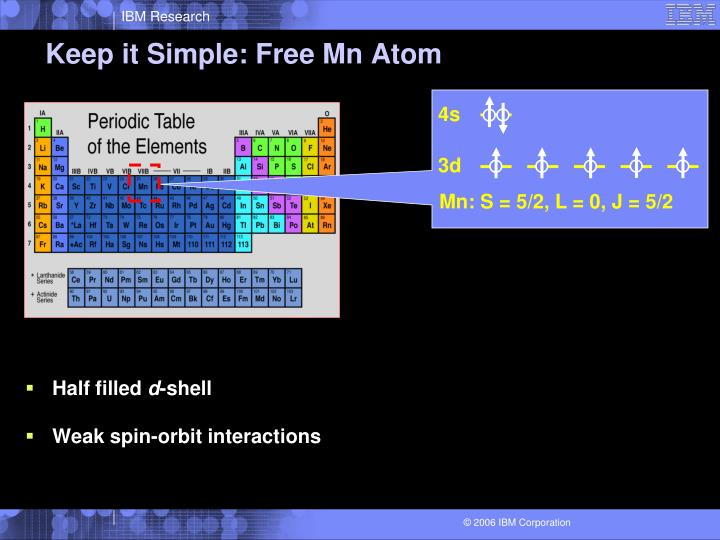 Keep it Simple: Free Mn Atom