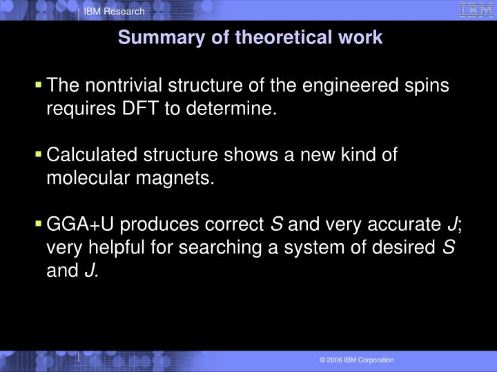 Summary of theoretical work
