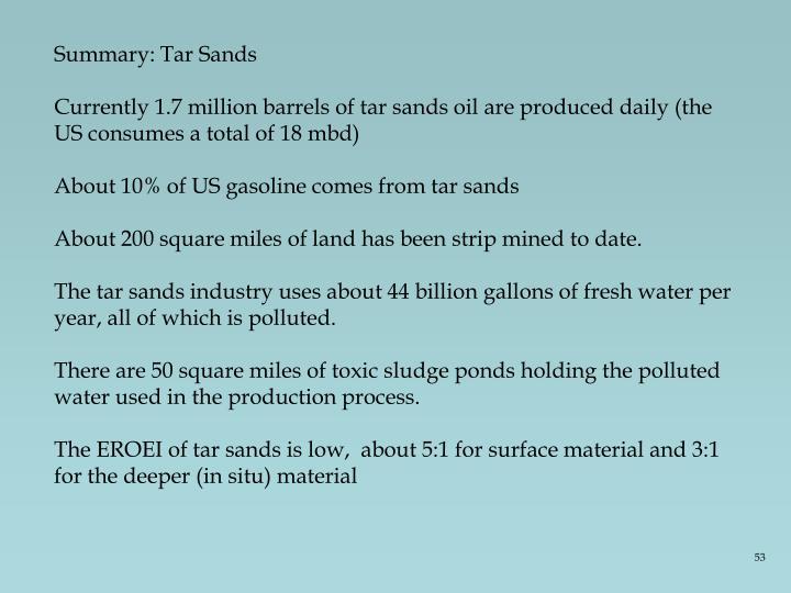 Summary: Tar Sands