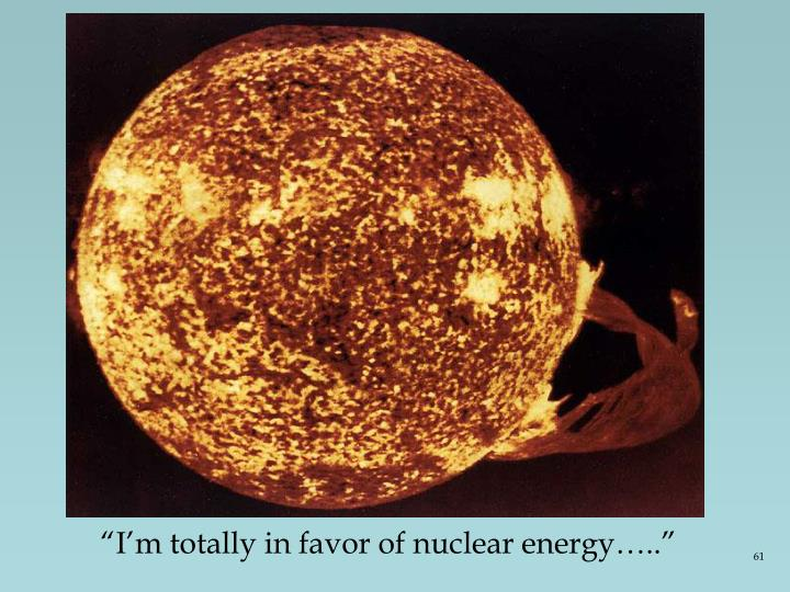 """I'm totally in favor of nuclear energy….."""