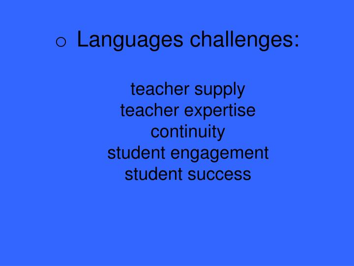 Languages challenges: