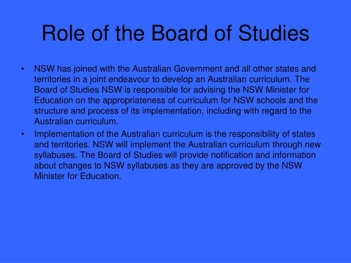 Role of the Board of Studies