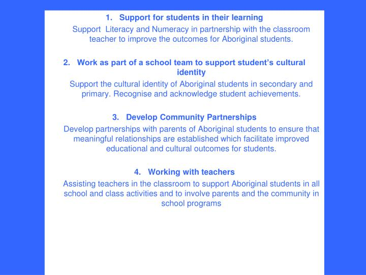 Support for students in their learning