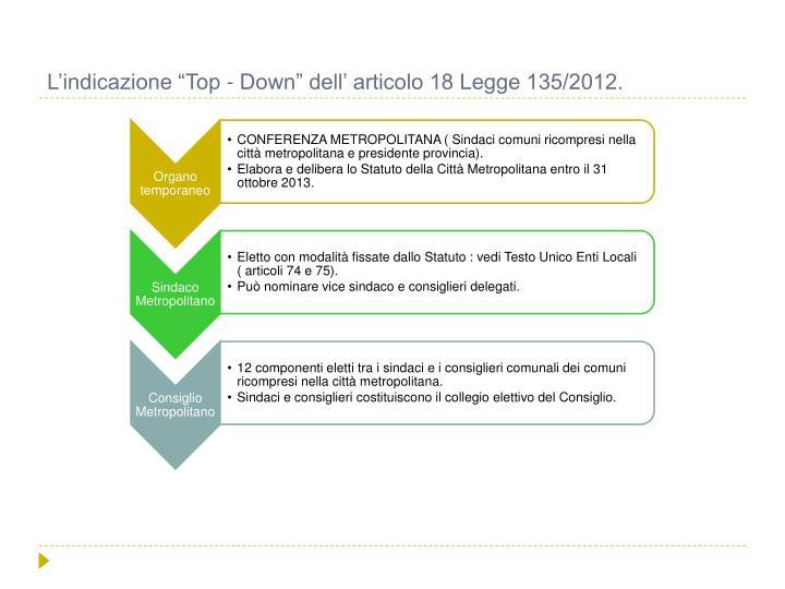 """L'indicazione """"Top - Down"""" dell' articolo 18 Legge 135/2012."""
