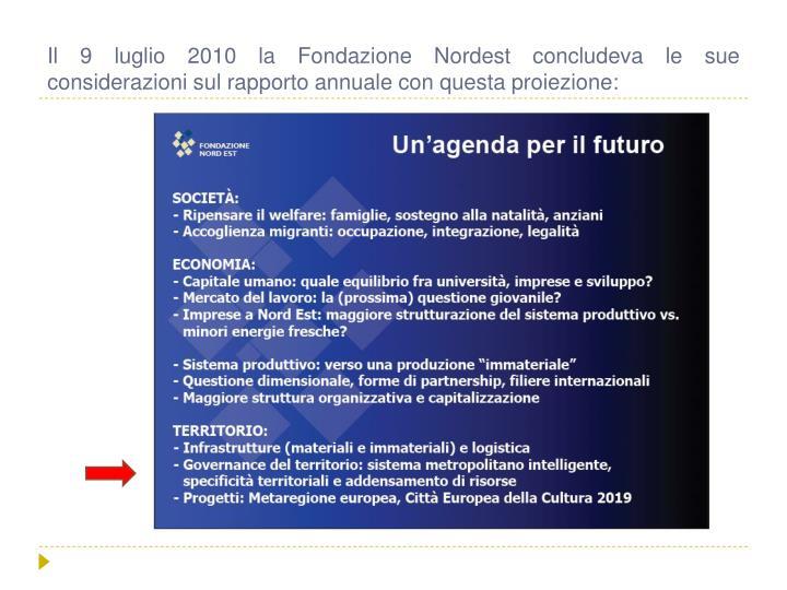 Il 9 luglio 2010 la Fondazione Nordest concludeva le sue considerazioni sul rapporto annuale con questa proiezione: