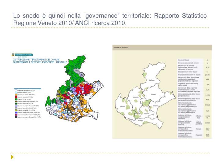 """Lo snodo è quindi nella """"governance"""" territoriale: Rapporto Statistico Regione Veneto 2010/ ANCI ricerca 2010."""