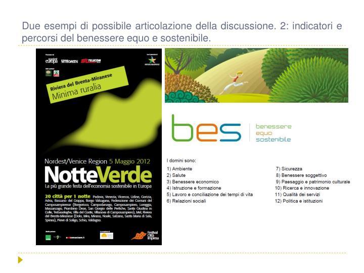 Due esempi di possibile articolazione della discussione. 2: indicatori e percorsi del benessere equo e sostenibile.