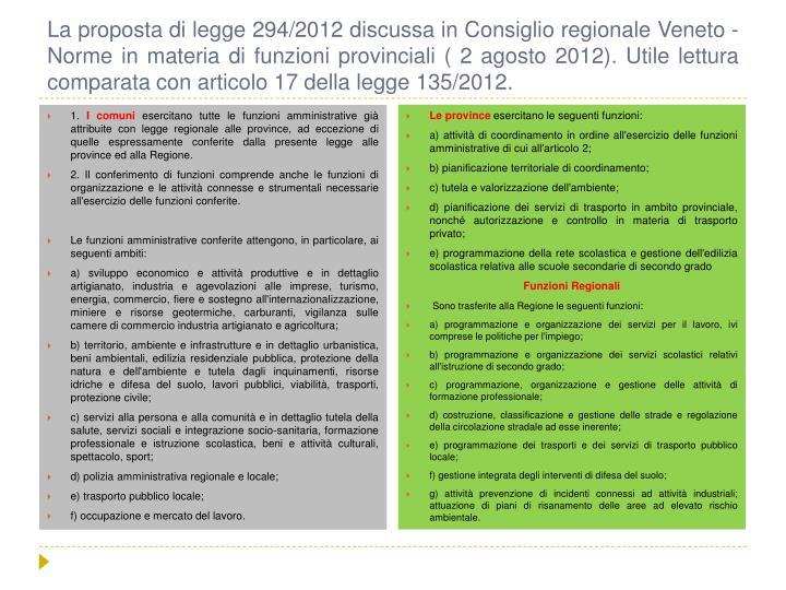 La proposta di legge 294/2012 discussa in Consiglio regionale Veneto - Norme in materia di funzioni provinciali ( 2 agosto 2012). Utile lettura comparata con articolo 17 della legge 135/2012.