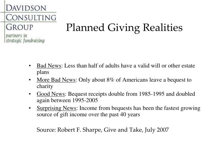 Planned Giving Realities