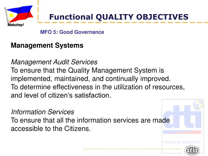 Functional QUALITY OBJECTIVES
