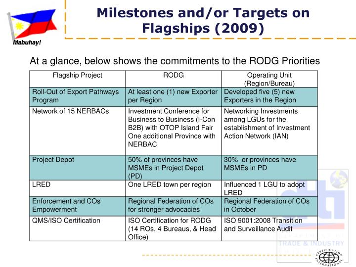 Milestones and/or Targets on Flagships (2009)