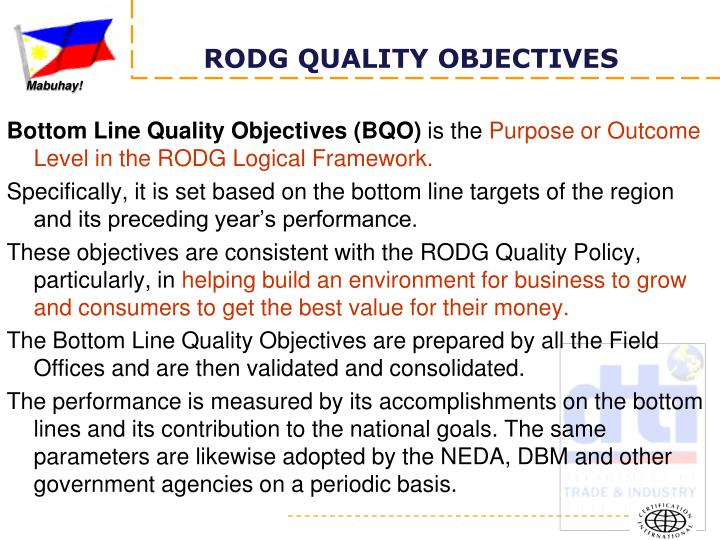Bottom Line Quality Objectives