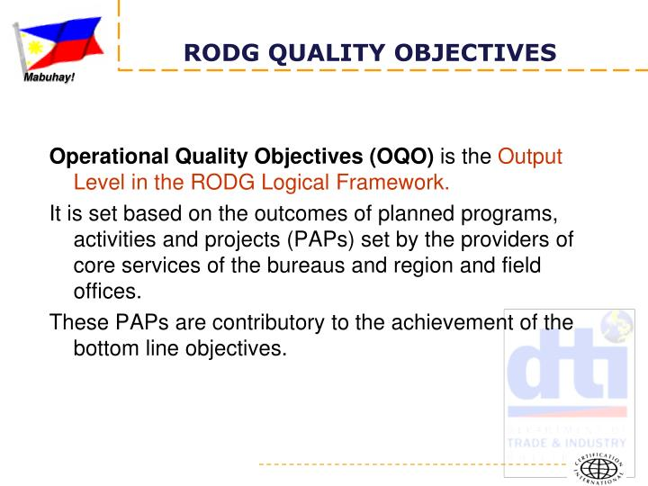 Operational Quality Objectives (OQO)