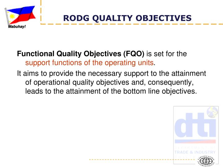 Functional Quality Objectives (FQO)
