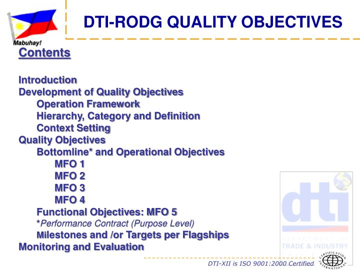 DTI-RODG QUALITY OBJECTIVES