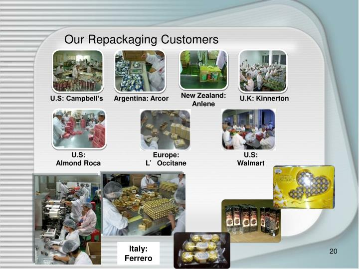 Our Repackaging Customers