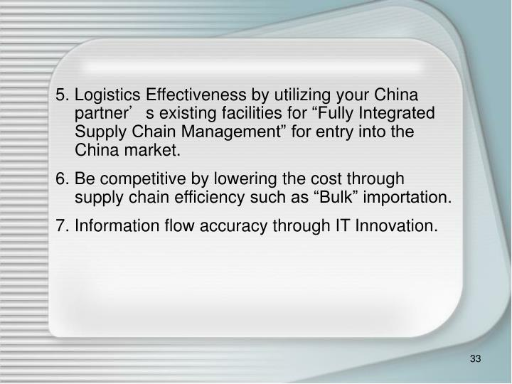 5. Logistics Effectiveness by utiliz
