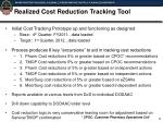 realized cost reduction tracking tool