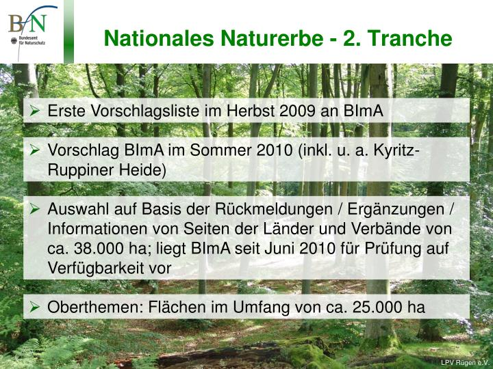 Nationales Naturerbe - 2. Tranche