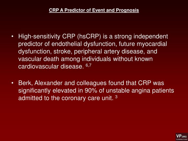 CRP A Predictor of Event and Prognosis