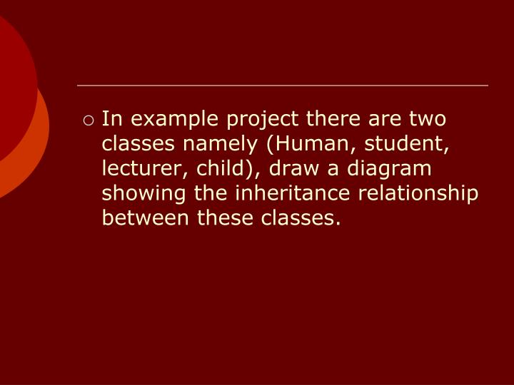 In example project there are two classes namely (Human, student, lecturer, child), draw a diagram showing the inheritance relationship between these classes.