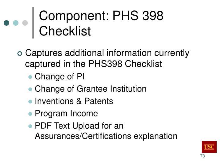 Component: PHS 398 Checklist