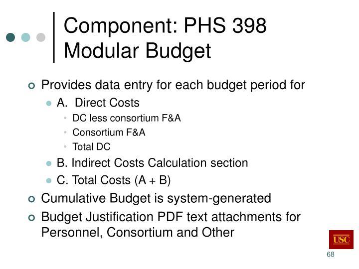 Component: PHS 398 Modular Budget