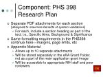 component phs 398 research plan