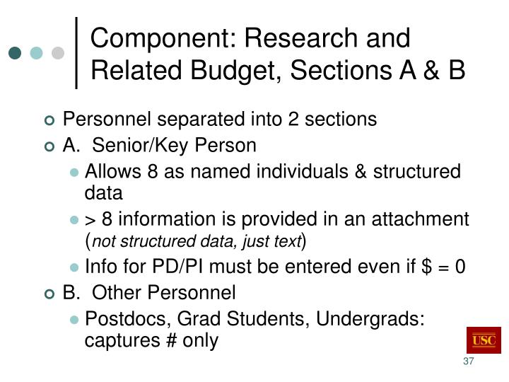 Component: Research and Related Budget, Sections A & B